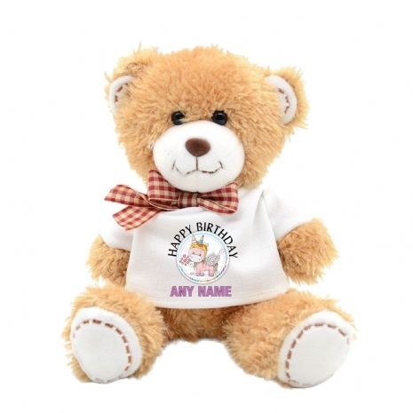 Personalised Rainbow Unicorn Teddy Bear N20 - ANY TEXT